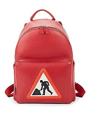 Men At Work Leather Backpack