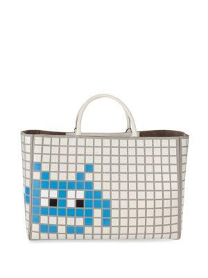 Ebury Maxi Space Invader Leather Handbag Anya Hindmarch