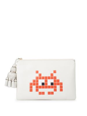 Georgiana Space Invaders Leather Pouch Anya Hindmarch