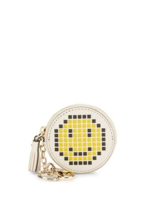 Pixel Smiley Leather Coin Purse Anya Hindmarch