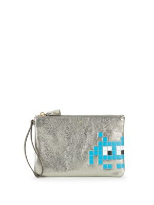 Space Invaders Robot Leather Pouch Anya Hindmarch