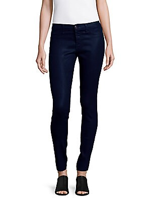 Mid-Rise Lacquered Super Skinny Jeans