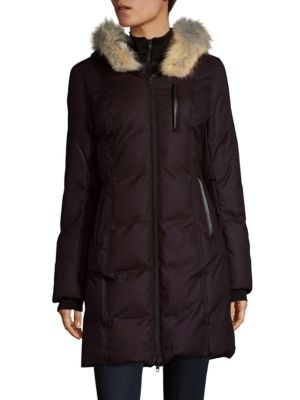 COYOTE FUR-TRIMMED PUFFER COAT