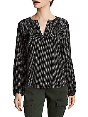 Dotted Bubble Sleeve Top