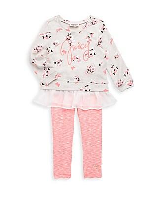 Little Girl's Floral Top & Pants Set