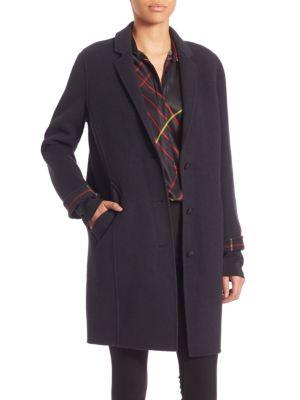 Bree Plaid Trim Coat Rag   Bone