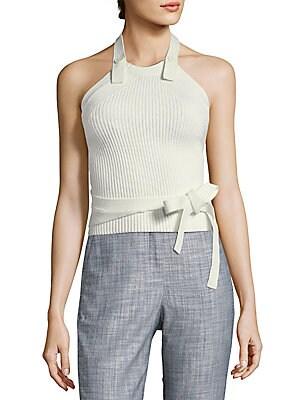 Halterneck Ribbed Cotton Sweater
