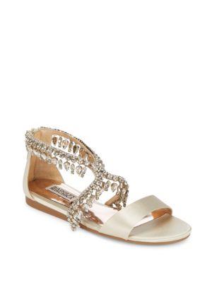 Tristen Leather Slide Sandals Badgley Mischka