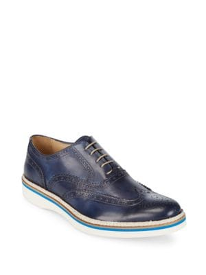 Brogued Leather Oxfords Bugatchi