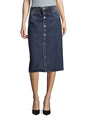 Snap Front Denim Skirt