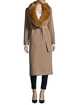 Faux Fur-Trimmed Wool Coat