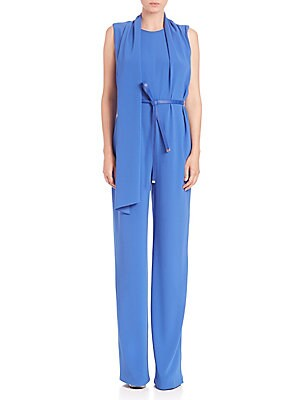 Scarf-Detail Sleeveless Belted Jumpsuit
