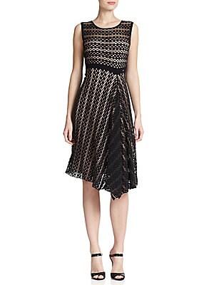 Crochet-Knit Draped Dress
