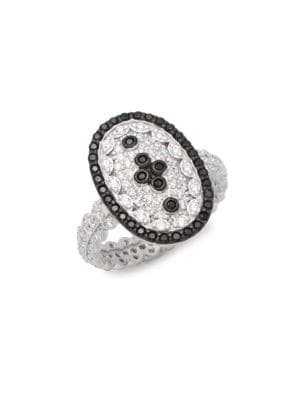 Sterling Silver Pave Clover Shield Ring FREIDA ROTHMAN