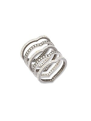 CONTEMPORARY DECO CUBIC ZIRCONIA AND STERLING SILVER FIVE STACK RING SET