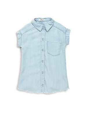 Girl's Point-Collar Chambray Dress
