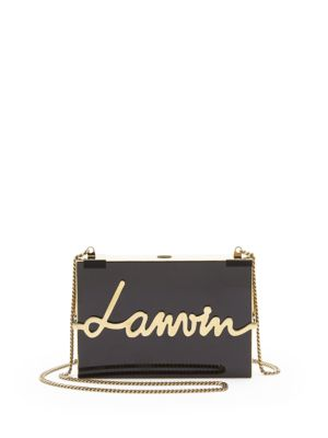 LANVIN Lacquered Resin Logo Clutch in Black