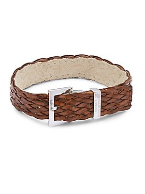 Sterling Silver & Woven Leather Bracelet