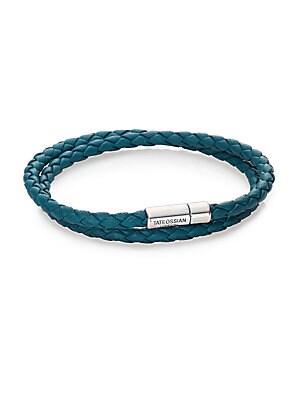 Scoubidou Leather & Sterling Silver Braided Double-Wrap Bracelet