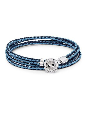 Stainless Steel & Leather Braided Bracelet