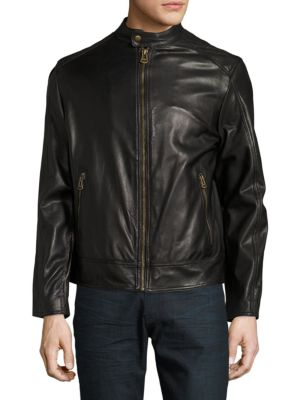 Zip-Front Faux-Leather Moto Jacket Cole Haan