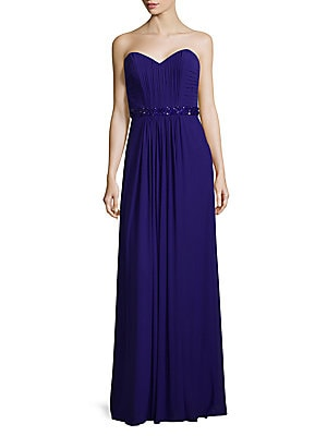 Elegant Gathered Floor-Length Gown