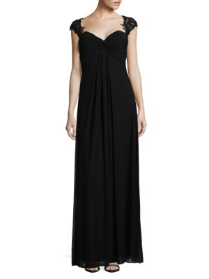 Elegant Twisted Shir Floor-Length Gown