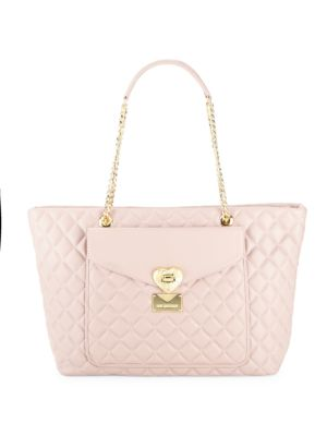 Quilted Faux Leather Tote Love Moschino