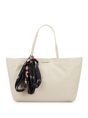 Faux Leather Logo Tote Love Moschino
