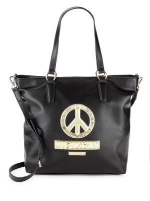 Peace Sign Faux Leather Tote Love Moschino