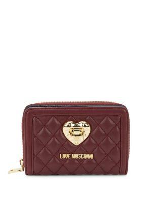 Quilted Zip-Around Wallet Love Moschino