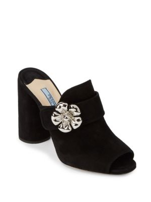 Suede Block-Heel Sandals Prada