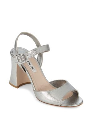 Leather Ankle-Strap Sandals Miu Miu