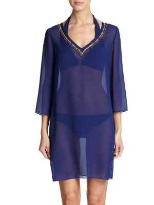 Bead-Accented Sheer Tunic Shoshanna