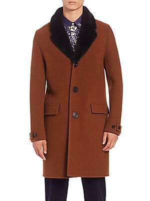 Wool & Shearling Collar Chesterfield Coat