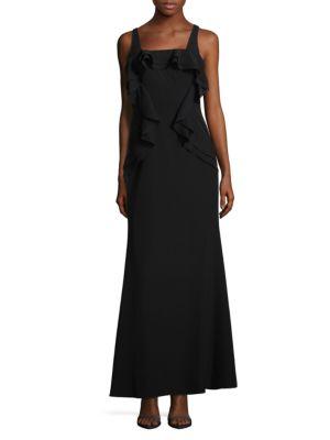 Sleeveless Flounce Evening Gown