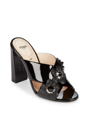 Floral Accented Leather Block Heel Sandals Fendi
