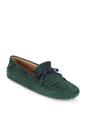 TOD'S Fringed Suede Tie Moccasins