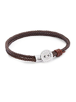 Sterling Silver & Leather Double Braided Bracelet