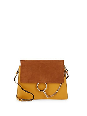 Colorblock Leather & Suede Shoulder Bag
