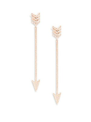 Diamond & 14K Rose Gold Drop Earrings