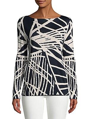 Graphic Silk-Cotton Sweater