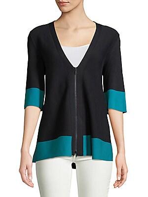 Colorblock Zip-Front Cardigan