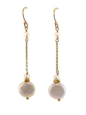 14Kt. Yellow Gold and Pearl Drop Earrings
