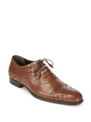 Checked Leather Oxford Shoes Mezlan