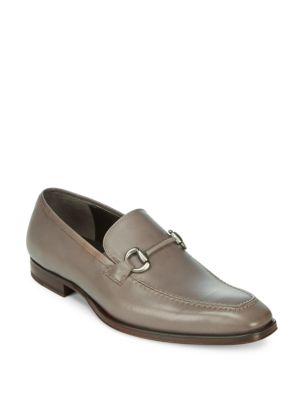 Solid Leather Bit Loafers Mezlan
