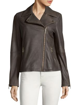 Skylar Leather Biker Jacket T Tahari