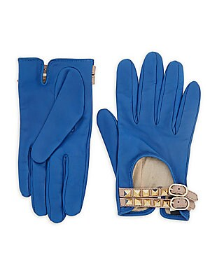 Studded Buckled Leather Driver Gloves