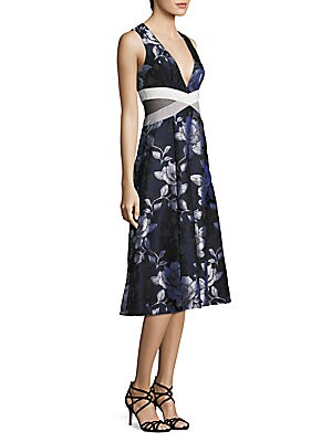 abs female floral jacquard midi dress