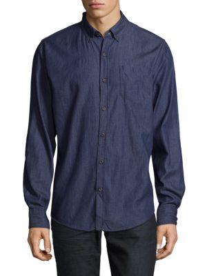 Chambray Cotton Button-Down Shirt Saks Fifth Avenue